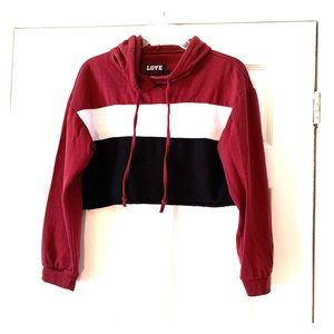 Love crop top sweatshirt hoodie sleeved Burgundy